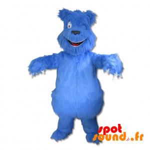Mascotte de monstre, de chien, de yéti bleu et poilu