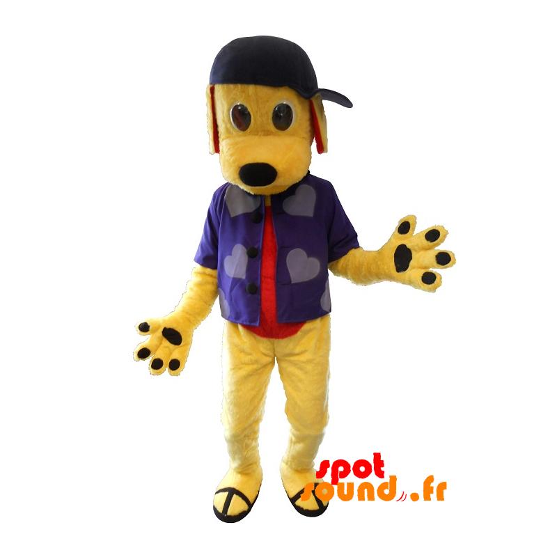 Mascotte de chien jaune avec une chemise et une casquette - MASFR034383 - Mascottes de chien