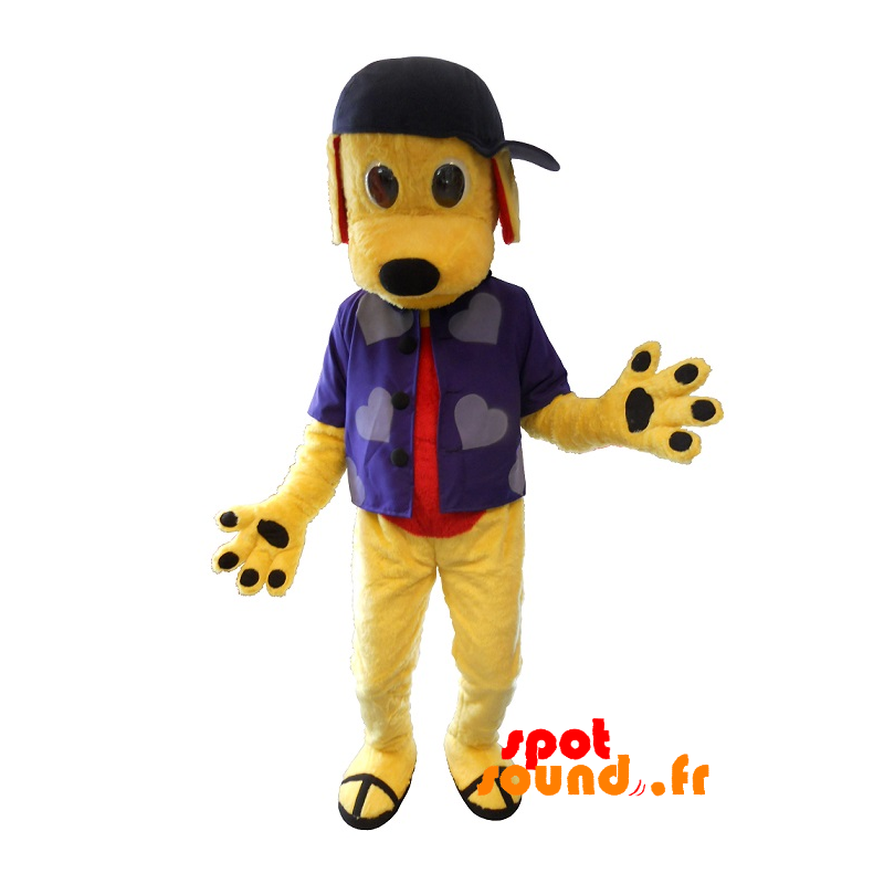 Yellow Dog Mascot With A Shirt And A Cap - MASFR034383 - Dog mascots