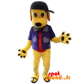 Gul hundemaskot med skjorte og kasket - Spotsound maskot