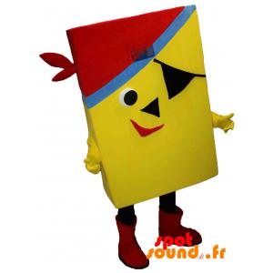 Mascotte jaune et rectangulaire de pirate