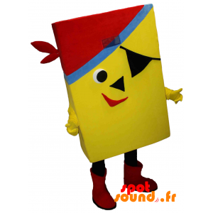 Mascotte jaune et rectangulaire de pirate