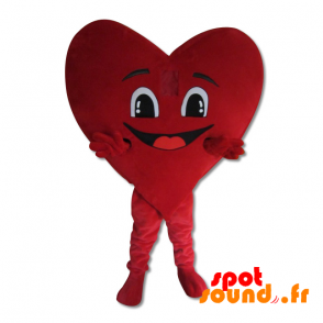 Giant Red Heart Mascot Smiling And Romantic - MASFR034385 - Mascottes de coeur
