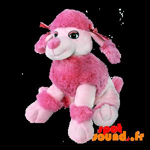 Peluche, chien rose avec de la fourrure et des nœuds sur la tête - PELFR040000 - Goodies