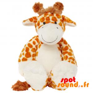 Girafe en peluche, marron et blanche, tachetée - PELFR040002 - plush