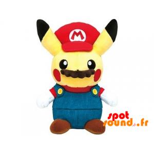 Peluche Pikachu déguisée en Mario Bros avec une moustache - PELFR040003 - plush