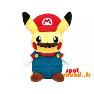 Pikachu Plush Disguised As Mario Bros With A Mustache - PELFR040003 - plush