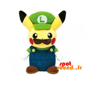 Pikachu Plush Dressed As Luigi With A Mustache - PELFR040004 - plush