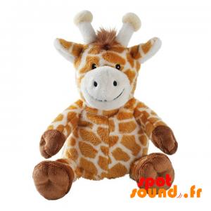 Žirafa plyšové, oranžové, hnědé a bílé skvrnité - PELFR040006 - plush