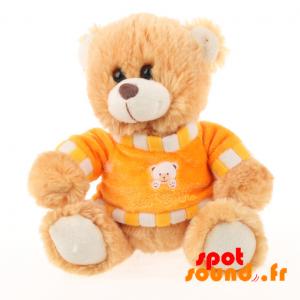 Nounours en peluche, beige, très mignon, avec un pull orange - PELFR040007 - plush