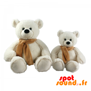 White Teddy Bear With A Brown Scarf, Customizable At Will - PELFR040008 - plush
