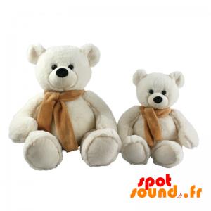 Nounours blanc avec une écharpe marron, personnalisable à volonté - PELFR040008 - plush