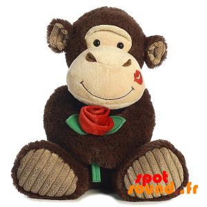 Singe en peluche avec une rose et du rouge à lèvres sur la joue - PELFR040009 - plush