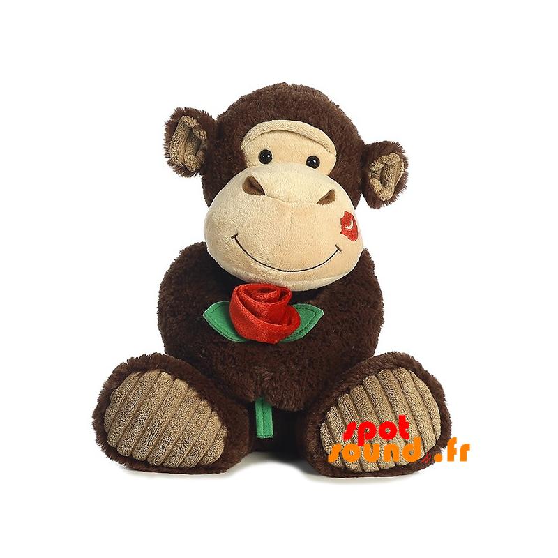 Scimmia Farcite Con Un Rossetto Rosa Sulla Guancia