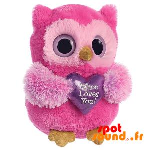 Hibou rose en peluche, tenant un cœur violet - PELFR040010 - plush