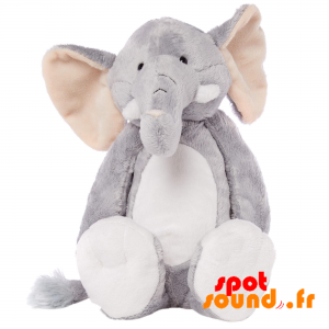 Gray And White Stuffed Elephant. Doudou Elephant - PELFR040014 - plush