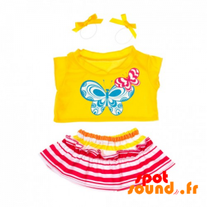 Summer Dress With Yellow Shirt And Striped Skirt - Plush Accessories - ACC45072 - access