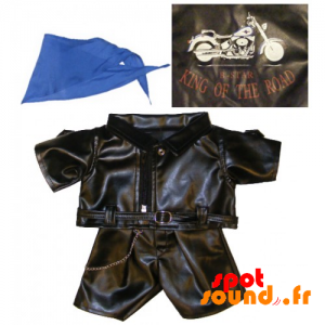 Keeping Leather Biker With A Blue Scarf - Plush Accessories - ACC45081 - access