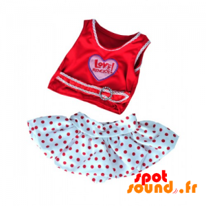 T-Shirt With Red Polka Dot Skirt. Feminine Outfit - Plush Accessories - ACC45084 - access