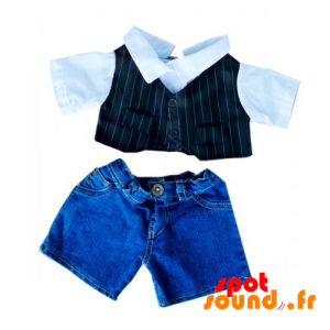 Denim Shorts With Black And White Vest - Plush Accessories - ACC45087 - access