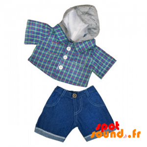 Denim Shorts With Plaid Shirt - Plush Accessory - ACC45088 - access