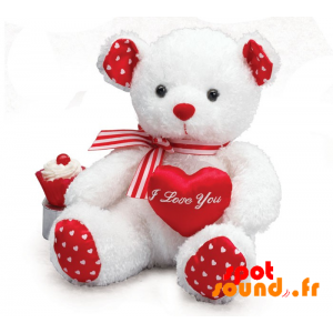 Teddy Bear, White And Red With Hearts - PELFR040018 - plush