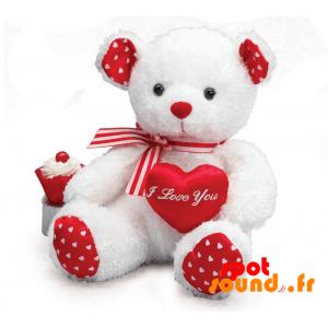 Nounours en peluche, blanc et rouge avec des cœurs - PELFR040018 - plush