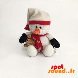 Bonhomme de neige en peluche avec un bonnet et une écharpe - PELFR040019 - plush