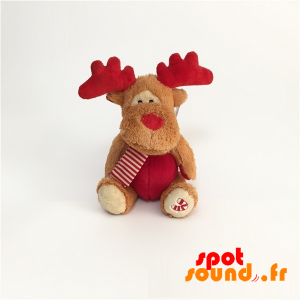 Caribou en peluche, marron et rouge avec une écharpe - PELFR040021 - plush