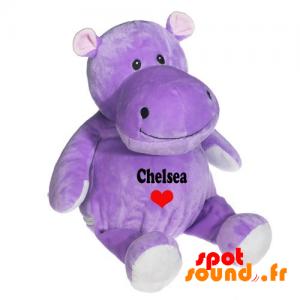 Fioletowy Pluszowy Hipopotam. Purpurowy Zwierzątko - PELFR040023 - plush