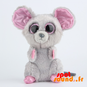 Plush Mouse, Gray And Pink, Sequined - PELFR040024 - plush