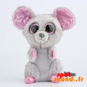 Souris en peluche, grise et rose, pailletée - PELFR040024 - plush