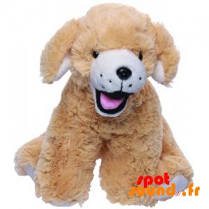 Perro de color beige de la felpa, sus 4 patas - PELFR040026 - plush