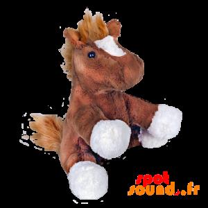 Pluszowy Koń. Źrebię Plusz, Brązowy I Biały - PELFR040027 - plush