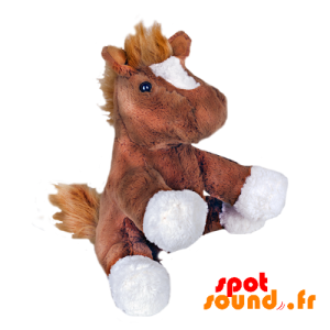 Plyšový kůň. Hříbě plyš, hnědé a bílé - PELFR040027 - plush