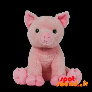Cochon rose en peluche avec de jolis yeux verts - PELFR040028 - plush