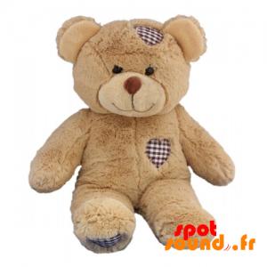 Nounours en peluche marron, avec des cœurs cousus - PELFR040029 - plush