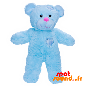 Teddy Bear, Blue With Stitched Hearts - PELFR040030 - plush