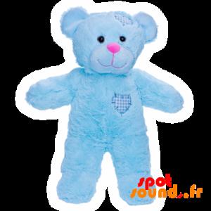 Nounours en peluche, bleu avec des cœurs cousus - PELFR040030 - plush