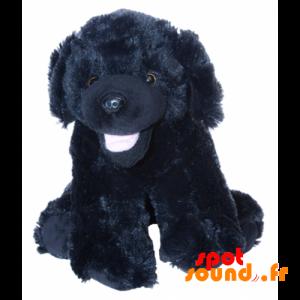 Černý pes plyš, měkké a chlupaté. Plyšové štěně - PELFR040031 - plush