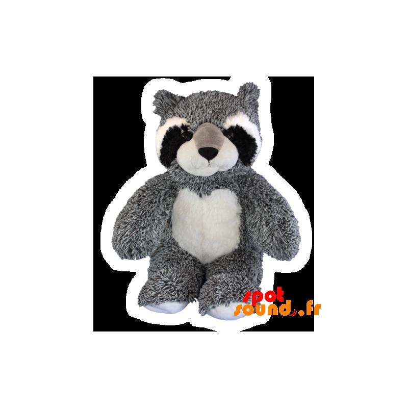 Raton laveur gris, noir et blanc en peluche. Peluche de la forêt - PELFR040033 - plush