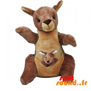 Känguru-Teddy Mit Ihrem Baby. Plüsch Känguru - PELFR040035 - plush