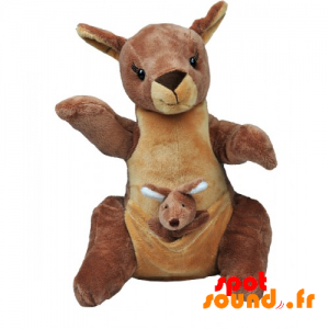 Kangourou en peluche avec son bébé. Peluche kangourou