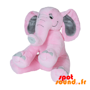 Pink And Gray Elephant With A Long Trunk. Plush Elephant