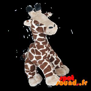Girafe en peluche, marron, tachetée. Peluche girafe