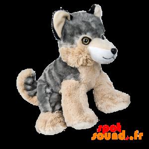 Husky en peluche. Chien loup en peluche gris et beige