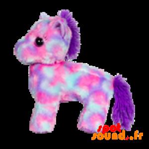 Poney en peluche rose et violet, très féminin