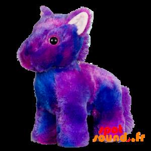 Poney en peluche violet, doux et poilu