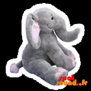 Éléphant en peluche gris et rose. Peluche éléphant