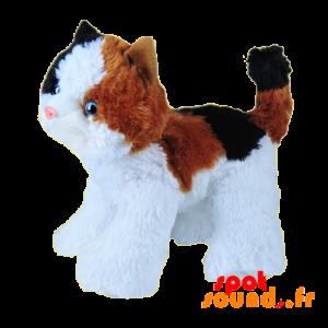 Chat en peluche tricolore, sur ses 4 pattes